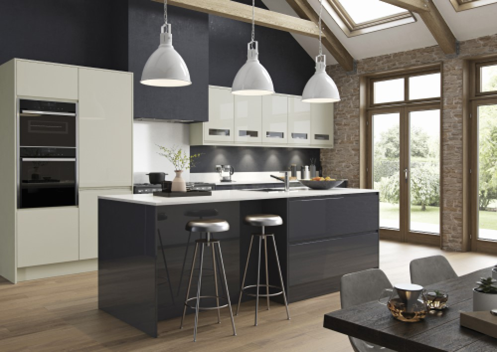 Gloss kitchen with graphite and porcelain coloured drawers