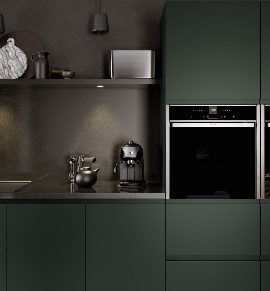 Close up of a Kitchen in Deeep Forrest colour