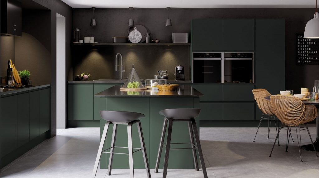 Wide shot of a Kitchen in Deeep Forrest colour