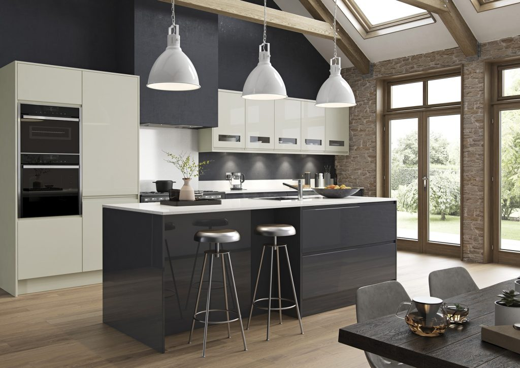 A kitchen with gloss in porcelain and grey graphite kitchen units