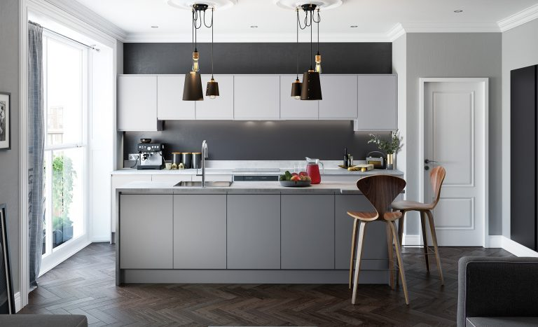 A picture of a Sienna Matte kitchen range in dust grey and light grey