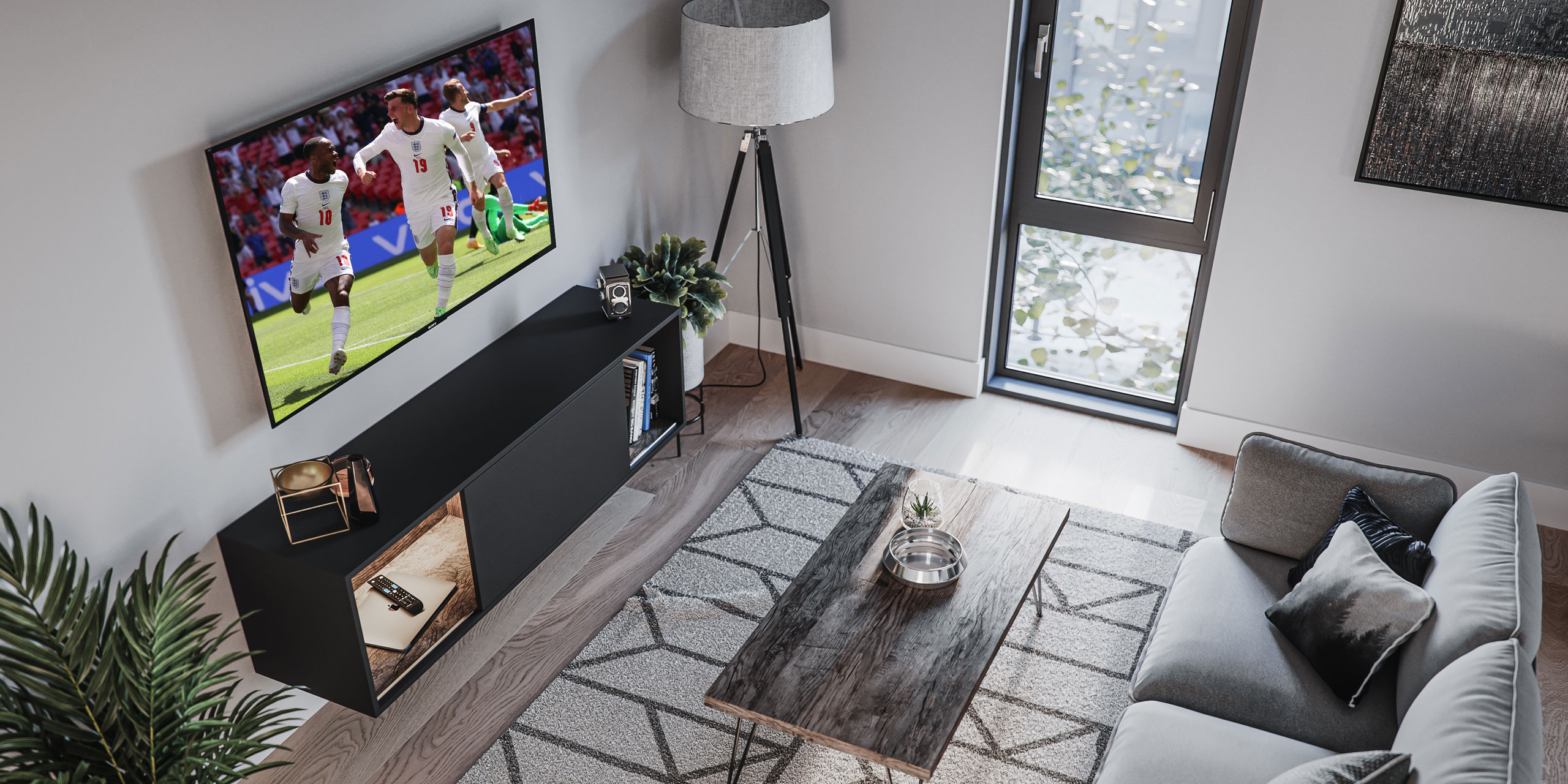 Media Station and living room with football on the TV - hosting