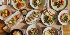 Dinner Party Plates of Food